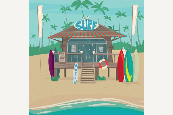 Surfing Center With Surfboards