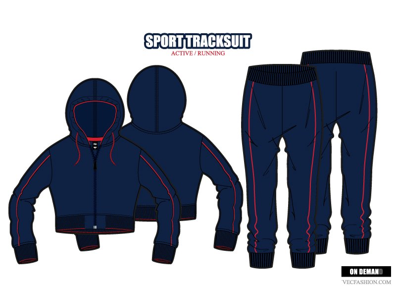 Women Sport Tracksuit Vector Set Illustrations