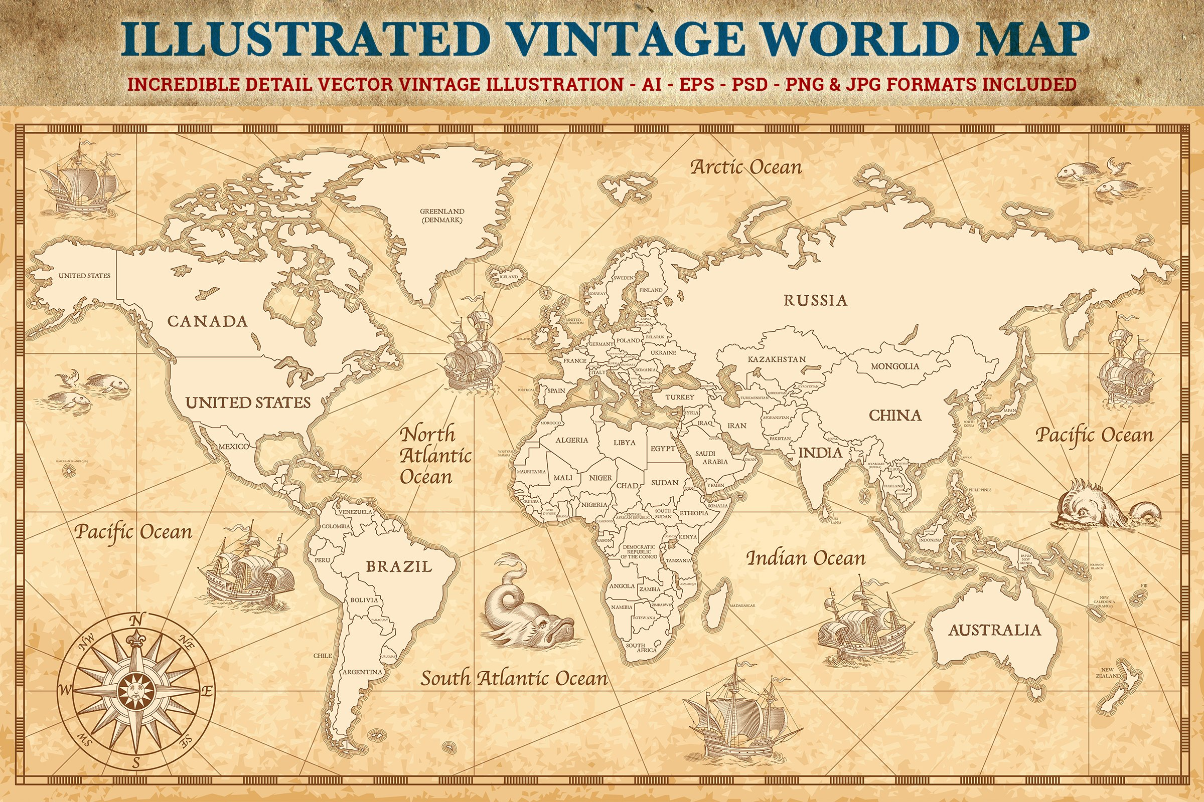 Vintage world map illustrations creative market gumiabroncs