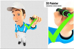 3D Painter Drawing Check Mark