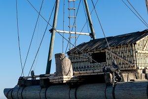 Ropes, ladder & folded sails of raft