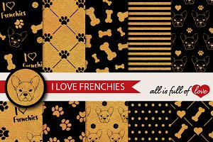Frenchie Golden Background Patterns