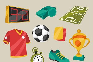 Soccer symbols in cartoon style.