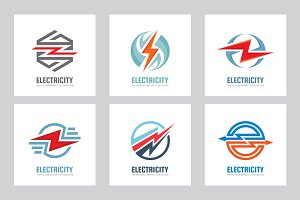 Electricity Vector Logo Sign Set