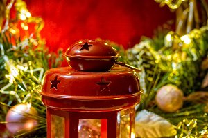 Christmas decoration with candle and
