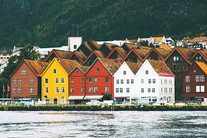 Bergen city old historical houses