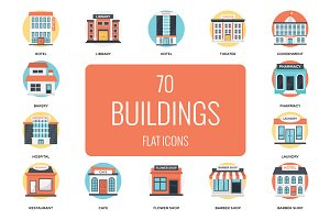 70 Flat Icons Set of Buildings
