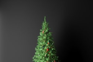 3d render christmas tree on a dark background