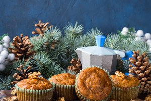 Winter Carrot spiced muffins with walnuts