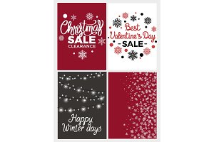Winter Holidays Set Posters Vector Illustration