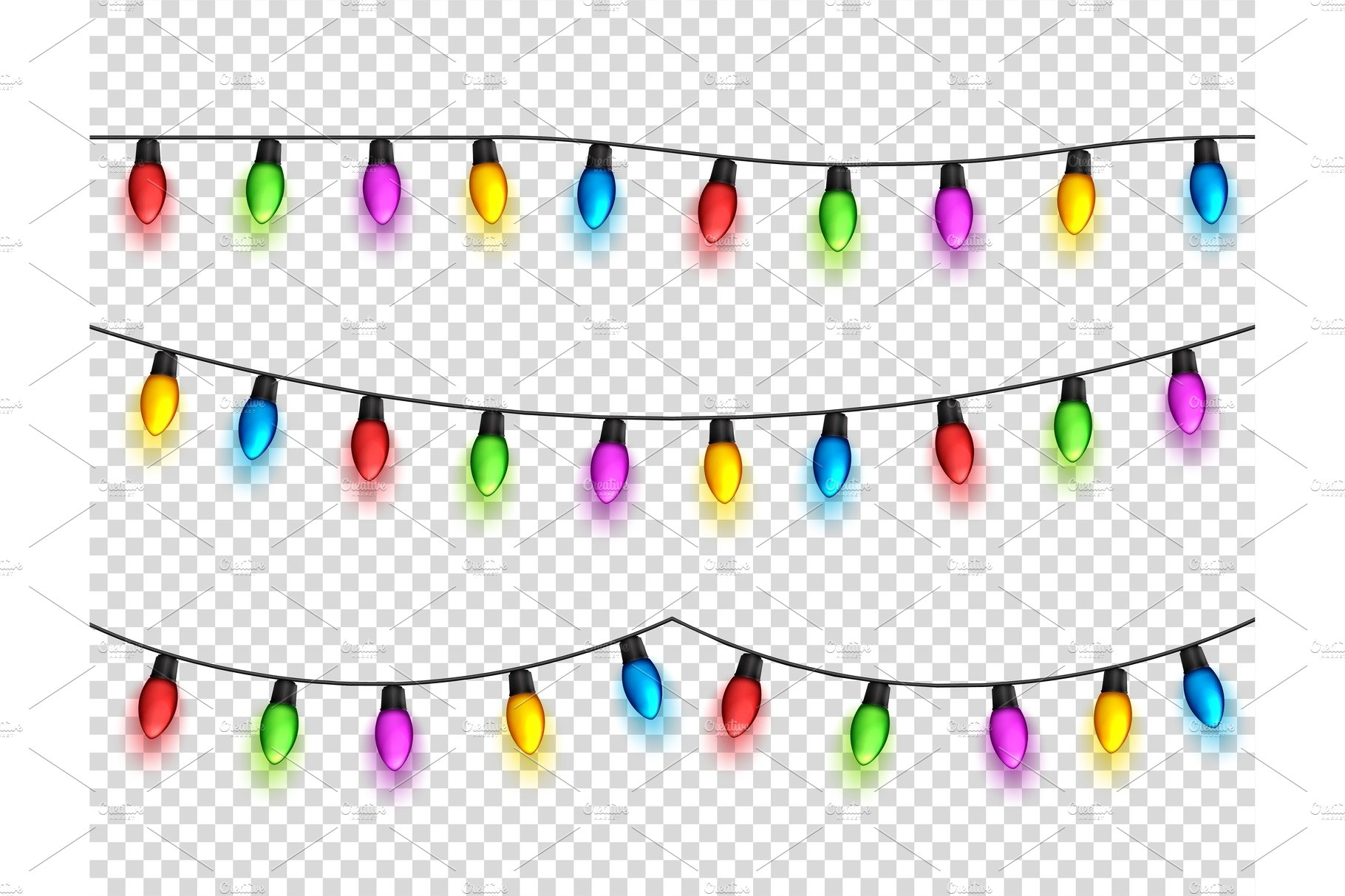 christmas glowing lights on transparent background garlands with colored bulbs xmas holidays