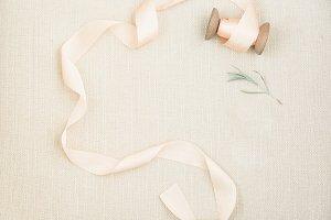 Silk Ribbon + Greenery Stock Image
