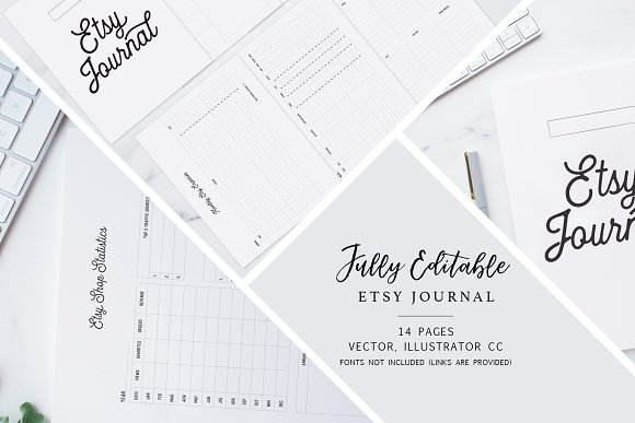 Fully Editable Etsy Journal in Stationery Templates