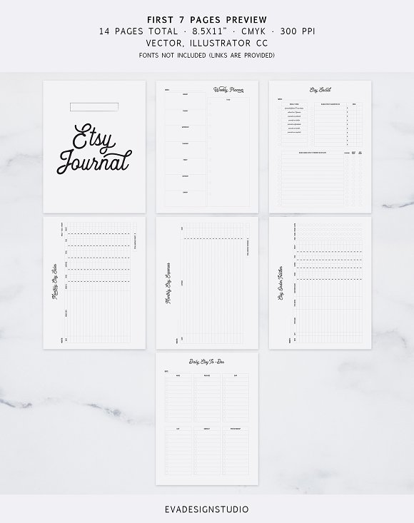 Fully Editable Etsy Journal in Stationery Templates - product preview 1