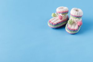 Infant announcement, newborn shoes