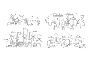 Ecological problems. City and factories. Hand drawn vector illustration. Renewable energy city and pollution environment