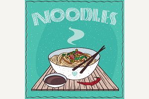 Asian noodles Udon with vegetables