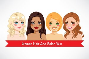 4 Women Hair And Color Skin