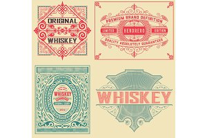 Set of 4 vintage labels