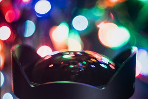 Christmas Lights in a Camera Lens