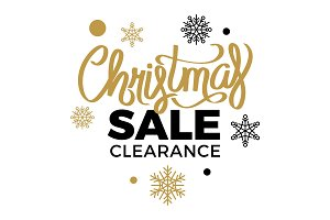 Winter Discounts. Christmas Sale Clearance Logotype