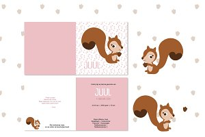 Squirrel birth announcement - girl