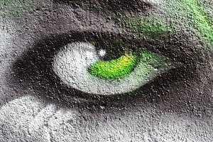 Eye painted on the wall