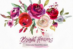 Bright watercolor flowers roses PNG