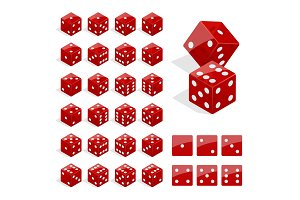 Set of isometric dice combination. Red poker cubes vector isolated. Collection of gambling app and casino template