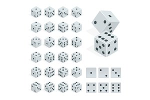 Set of isometric dice combination. White poker cubes vector isolated.