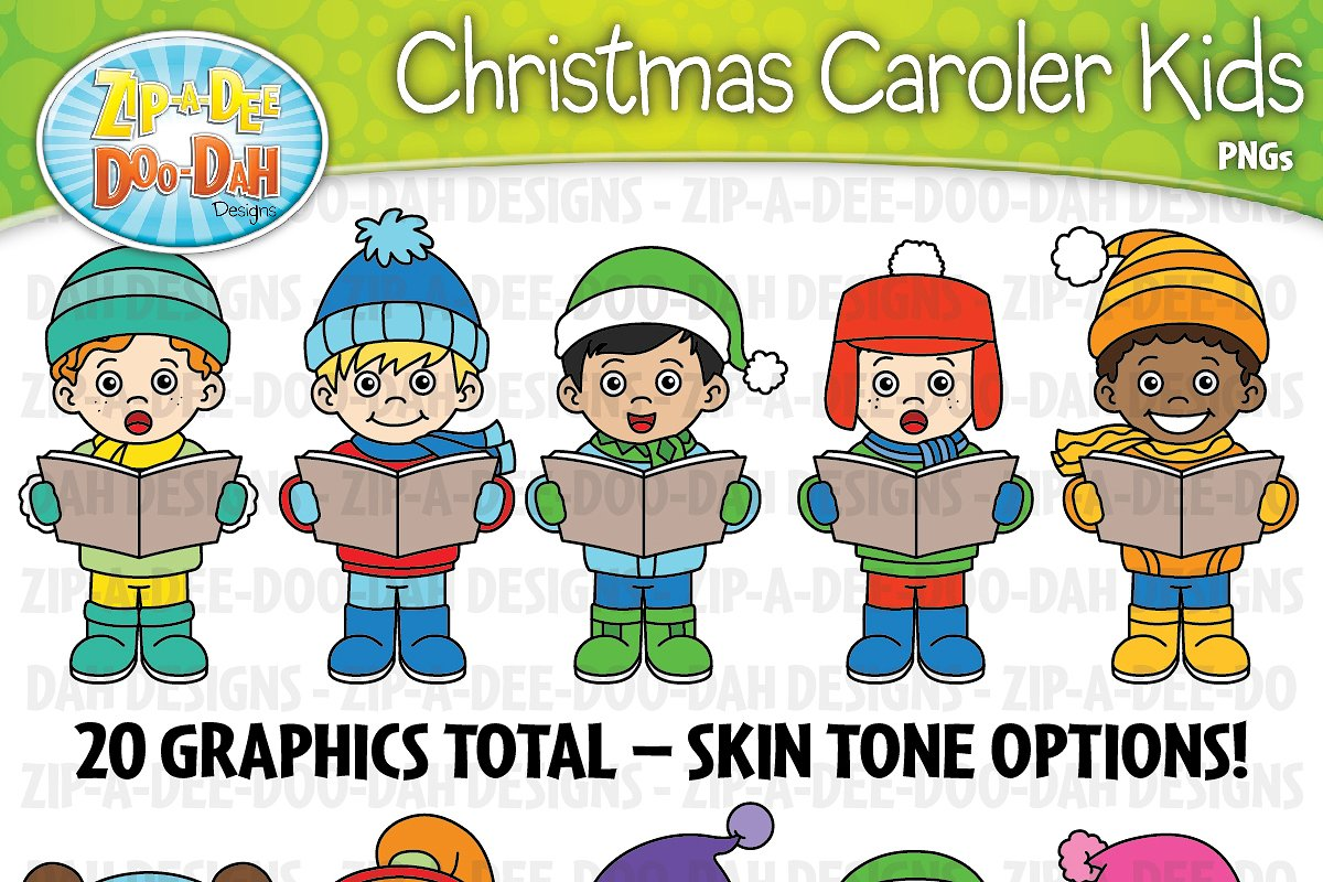 Christmas Carolers Kids Clipart Set