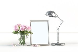 Frame, flower, light fixture, MockUp