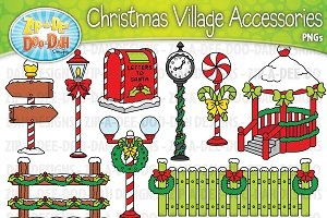 Christmas Village Props Clipart Set
