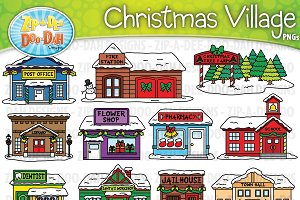 Christmas Village Buildings Clipart