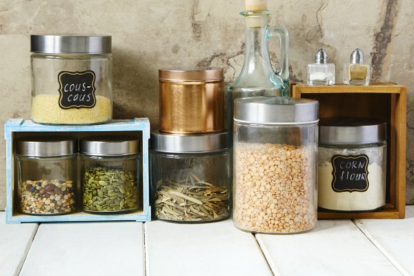 Arrangement of dry food products.