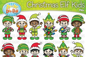 Christmas Elf Characters Clipart Set