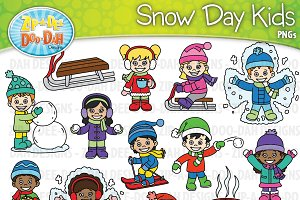 Snow Day Kid Characters Clipart Set
