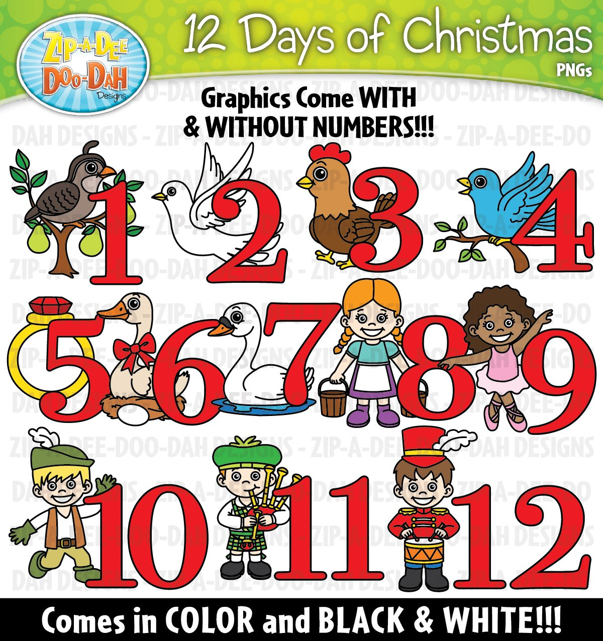 12 days of christmas clipart set graphics creative market