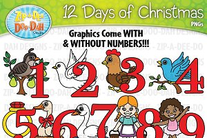 12 Days of Christmas Clipart Set