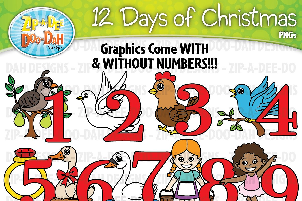 The 12 Days Of Christmas.12 Days Of Christmas Clipart Set Graphics Creative Market