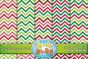 Christmas Chevron Digital Paper Set