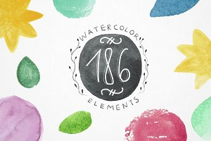 Set of 186 watercolor elements.