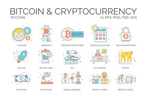 Cryptocurrency & Bitcoin Flat Icons