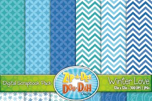 Winter Love Digital Paper Set
