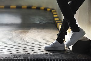 Man with white sneakers