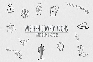 Hand-Drawn Western Cowboy Icons