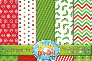 Holly Jolly Digital Paper Set