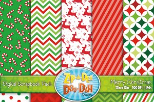 Merry Christmas Digital Paper Set