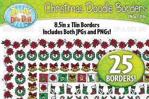 Christmas Doodle Frame Borders Set