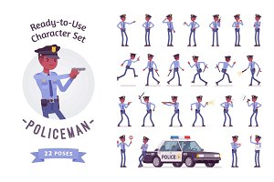 Black policeman ready-to-use character set